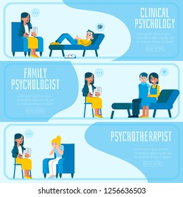 Vector illustration set of psychotherapy and psychology horizontal banners with various scenes of doctors appointment - people talking about their psychological problems and receiving consultation.