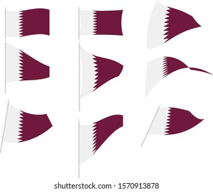 Vector Illustration of Set with Qatar Flag