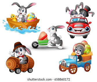 Vector illustration of Set of rabbit cartoon driving of vehicle