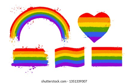 Vector illustration set of rainbow LGBT flag color symbols and banners isolated on white background.