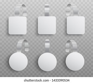 Vector illustration set of realistic custom promotional advertising wobblers of round and square shapes isolated on transparent background - danglers for supermarket sale announcement.