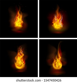 Vector illustration. Set of realistic fire flames. Bright burning flames on the black background.