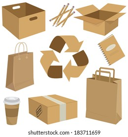 Vector illustration of a set of recycled cardboard boxes, packages and other objects