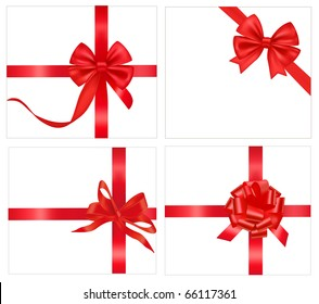 Vector illustration. Set of red bows with ribbons.
