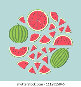 Vector illustration: set of red cone, semicircle and round flat watermelon pieces with black seeds and entire watermelons icons with green striped peel in circle shape isolated on blue background
