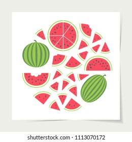 Vector illustration: set of red cone, semicircle and round flat watermelon pieces with black seeds and entire watermelons icons with green striped peel in circle shape isolated on white background