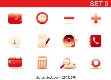 Vector illustration ? set of red elegant simple icons for common computer and media devices functions. Set-9