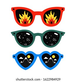 Vector illustration set with red, green and blue sunglasses. Flame, eyes, mountains and universe planets. Trendy fashion print collection