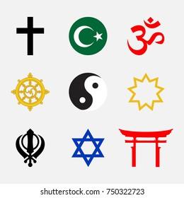 Vector illustration set of Religious symbols.