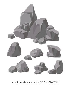 Vector illustration set of rocks and stones grey colors. Cartoon stone and elements for game in flat style.