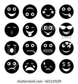 vector illustration set of round black emoticons