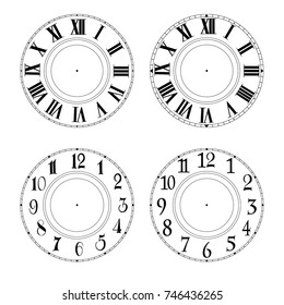 vector illustration. Set of round dial plate.Can use to be print on face clock, template or background. Without arrows.