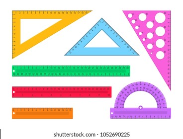 Vector illustration. Set of rulers. Flat style.