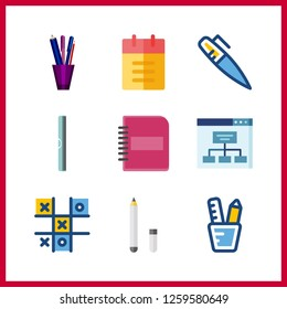 Vector illustration set ruller and pen icons