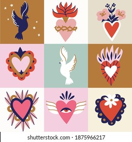Vector illustration set of sacred hearts. Traditional Mexican hearts. Seamless pattern