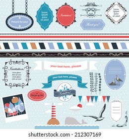Vector illustration of a set of scrapbook, design elements - frames, calligraphic dividers, boarders - Marine theme