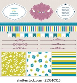 Vector illustration of a set of scrapbook, design elements - frames, calligraphic dividers, boarders, tags, seamless backgrounds