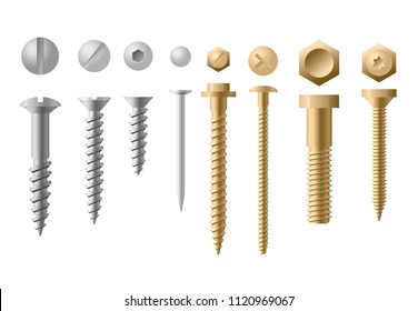 Vector illustration set of screws different types and shapes in golden and silver color on white background. Collection of Screws, Bolts, Nuts and Rivets. Top and front view.