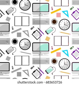 Vector illustration set of seamless pattern background with school supplies. Pen, pencil, ruler, paper, brush, textbook, notebook in flat design style. In gray and color color.