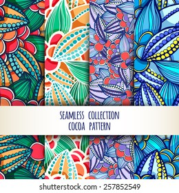 Vector illustration. Set. seamless patterns of stylized leaves and fruits of cocoa beans.