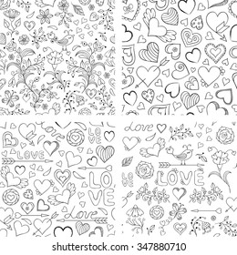 Vector Illustration Of Set Seamless Patterns With Hearts Flowers And Other Elements
