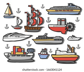 vector illustration, a set of vector ships of different types and different times. Seaport
