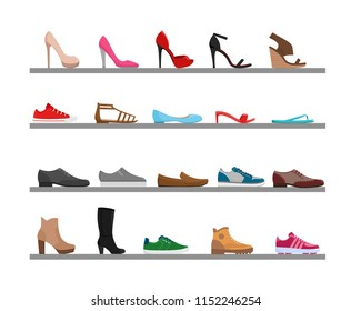 Vector illustration set of shoes. Collection men s and women s season footwear on the shelfs. Fashionable different shoes, boots and sandals. Cartoon flat style.