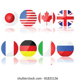Vector illustration set showing buttons with the flags of the countries that compose the G-8 (Group of Eight)