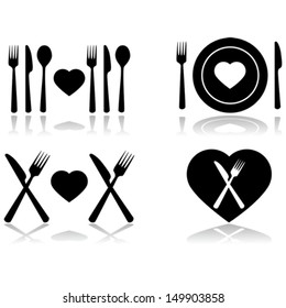 Vector illustration set showing four different icons symbolizing a dinner date