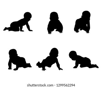 Vector illustration of a set of silhouettes of babies