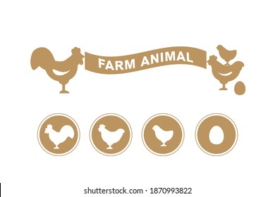 Vector illustration. A set of silhouettes of chickens of all ages. Farm animals icons set chicken, rooster, hen and cock on white background.