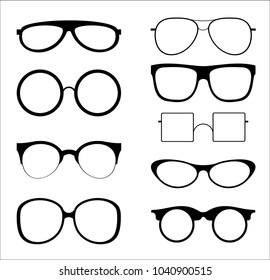 e101c5ba590 Vector illustration set of silhouettes sunglasses isolated on white color  background. Glasses model icons in