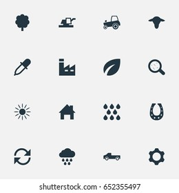 Vector Illustration Set Of Simple Agriculture Icons. Elements Watering, Manufacture, Farming Machinery And Other Synonyms Industry, Pipette And Dropper.