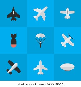 Vector Illustration Set Of Simple Aircraft Icons. Elements Catapults, Craft, Rocket And Other Synonyms Parachute, Aviation And Balloons.