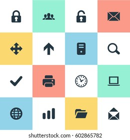 Vector Illustration Set Of Simple Application Icons. Elements Magnifier, Statistics, Dossier And Other Synonyms Envelope, Open And Padlock.