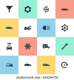Vector Illustration Set Of Simple Auto Icons. Elements Truck, Search, Repair And Other Synonyms Spanner, Cogwheel And Service.