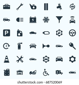 Vector Illustration Set Of Simple Auto Icons. Elements Grease, Wheel, Carriage Wash And Other Synonyms Wash, Mirror And Workshop.