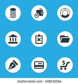 Vector Illustration Set Of Simple Banking Icons. Elements Circle Diagram, Court, Cross On Clipboard And Other Synonyms File, Documents And Circle.