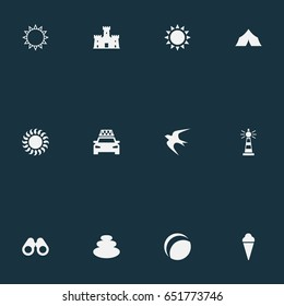 Vector Illustration Set Of Simple Beach Icons. Elements Sun, Beach Games, Beacon And Other Synonyms Sun, Lighthouse And Shelter.