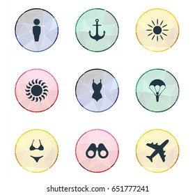 Vector Illustration Set Of Simple Beach Icons. Elements Sunlight, Swimsuit, Airplane And Other Synonyms Ship, Beachwear And Beach.