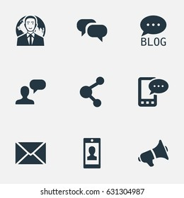 Vector Illustration Set Of Simple Blogging Icons. Elements Profile, Post, Share And Other Synonyms Site, Speaker And Gossip.