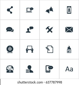 Vector Illustration Set Of Simple Blogging Icons. Elements Post, Loudspeaker, E-Letter And Other Synonyms Share, Phone And Gazette.