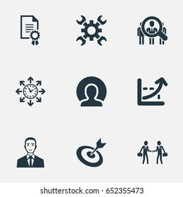 Vector Illustration Set Of Simple Brainstorming Icons. Elements Goal, Progress, Industry And Other Synonyms Timing, Worker And Industry.