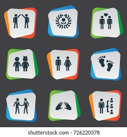 Vector Illustration Set Of Simple Buddies Icons. Elements Companion, Children, Colleague And Other Synonyms Communication, Gender And Order.