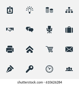 Vector Illustration Set Of Simple Business Icons. Elements Hard Money, Clock, Work Seat And Other Synonyms Envelope, Group And Network.