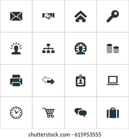 Vector Illustration Set Of Simple Business Icons. Elements Member, Identity Card, Clock And Other Synonyms Printer, Partnership And Identity.