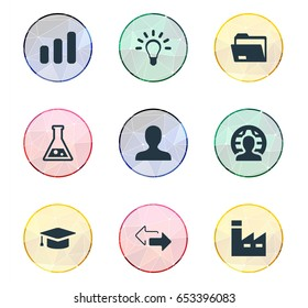 Vector Illustration Set Of Simple Business Icons. Elements Flask, University Hat, Archive And Other Synonyms Chemical, Chart And Bar.