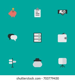 Vector Illustration Set Of Simple Business Icons. Elements Purse, Agreement, Clipboard And Other Synonyms Drawer, Wallet And Signpost.