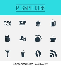 Vector Illustration Set Of Simple Cafe Icons. Elements Dishware, Coffee, Beerhouse And Other Synonyms Teapot, Cupcake And Leaf.