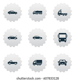 Vector Illustration Set Of Simple Car Icons. Elements Auto, Shipment, Traffic And Other Synonyms Wagon, Truck And Auto.